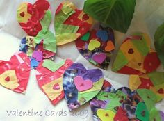These Valentine Cards are easy to make and not very different from dècoupage style projects Ana has been doing so far.    Items used: Construction paper for base, tissue papers to tear and stick on the construction paper, scissors, heart template, glue, embellishments like glitter, glitter glue, stickers etc.      1.Simply tear and stick pieces of tissue paper on the construction paper or card stock if preferred  2.When it dries a bit, draw heart template on the back and cut out little…