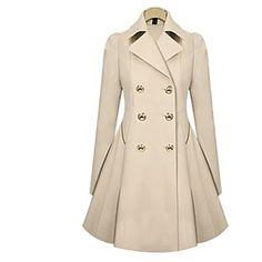 Skymoto®Women's Fashion Slim OL Trench Faux Long Design Trench Coat - USD $ 30.50