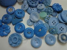 Buttons Vintage Baby Blue in a Vintage Jar by MadeleinesPockets, $9.00