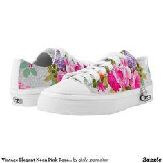 Vintage Elegant Neon Pink Roses Polka Dots Printed Shoes
