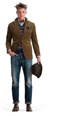 c10c3acc0f Gant - wool jaquard slipover vest, browncord blazer, mauve lavender striped  shirt, brown