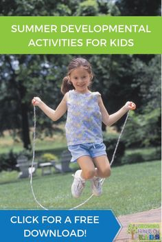 A huge list of summer developmental activities for kids and includes free printables to share with parents or educators. Proprioceptive Activities, Gross Motor Activities, Outdoor Activities For Kids, Sensory Activities, Hands On Activities, Summer Activities, Toddler Activities, Learning Activities, Movement Activities
