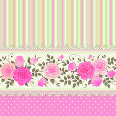 Vector seamless border with climbing roses Floral striped polka dot background Vintage ornamental card Raster version Polka Dot Background, Background Vintage, Background Patterns, Textured Background, Decoupage Vintage, Decoupage Paper, Vintage Paper, Flower Backgrounds, Wallpaper Backgrounds