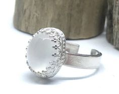 Moonstone sterling silver ring gemstone statement ring large