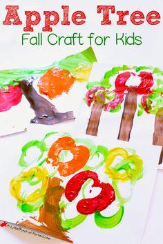 Fall Craft for Kids: Apple Tree Prints -(painting, preschool, kindergarten)