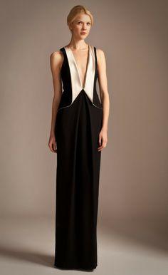 Temperley London Long Pasha Peplum Dress in Black (Black/Oyster) - Lyst