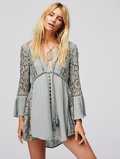 Washed Green Lovestoned Lace Buttondown Top at Free People Clothing Boutique Day Dresses, Casual Dresses, 2016 Fashion Trends, Mini Dress With Sleeves, Denim And Supply, Couture, Boho Fashion, Dress Up, Babydoll Dress