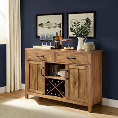 Store your extra dinnerware, flatware, and table linens in a buffet table or sideboard. Shop our great selection of stylish buffet tables and sideboards. Rustic Buffet, Wood Buffet, Sideboard Buffet, Sideboard Ideas, Vintage Buffet, Buffet Cabinet, Drinks Cabinet, Liquor Cabinet, Dining Room Storage