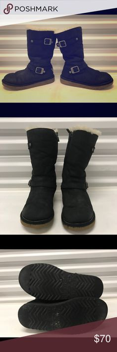 Ugg Australia Girls Sheep fur lined boots Ugg Australia Sheep fur Lined brown boots size 4 in great condition UGG Shoes Rain & Snow Boots