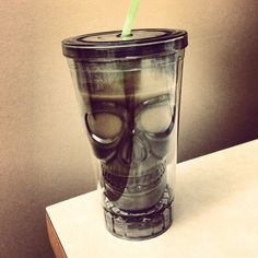 #Skull plastic cup with straw