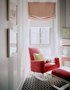 Timeless sophistication rules in this nursery with its striped walls and bright raspberry rocking chair. - Traditional Home ® / Photo: Patrick Cline / Design: Sara Gilbane Rocking Chair Nursery, Rocking Chairs, Nursery Rocker, Sofa Couch, Striped Walls, Striped Nursery, Nursery Stripes, Nursery Inspiration, Color Inspiration