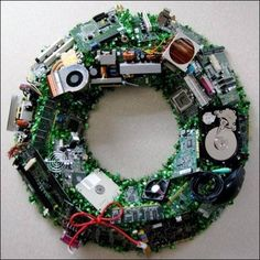 Wreath made of recycled tech - Stephen, you should like this!