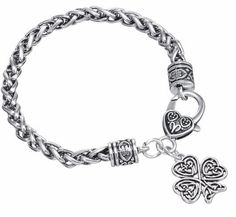 Minimal Restro Heart Knot Four Leaf Clover Bracelet Antique Good Luck Wicca Talisman for Man/woman Jewelry