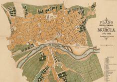 Plano Comercial de Murcia. 1882 Murcia, Vintage World Maps, Antique, Places, Antique Photos, City, Sweetie Belle, Historia, Antiques
