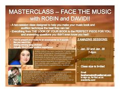 Face The Music: A Masterclass with Robin Carus & David John Madore! $99 special.
