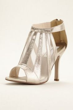Looking to make a statement? These unique mesh metallic shimmer booties are just for you! Stylish special occasion sandal features mesh panels, and is closed by a zipper up the back. Heel height - 3 Synthetic upper and sole. Peep Toe Heels, Pointed Toe Pumps, Bridal Shoes, Wedding Shoes, Wedding Sneakers, Gold Evening Shoes, Bridesmaids Heels, Champagne Shoes, Special Occasion Shoes