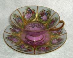 Vintage Pink WESTERN Germany Carlsbad Bavaria Tea Cup Saucer Romantic Fragonard