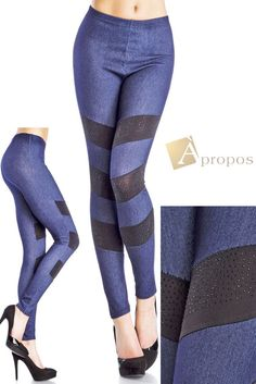 Leggings Jeggings Treggins Stretch Strumpfhose Blau Jeans Optik 34,36,38 Apropos