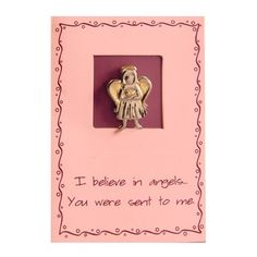 Perfect for Relief Society -  LDS Sincere Thoughts Greeting Card & Two-Tone Pin - Angel Two-Tone Pin - I Believe in Angels... You Were Sent to Me - LDS Greeting Cards, Friendship / http://www.mormonslike.com/lds-sincere-thoughts-greeting-card-two-tone-pin-angel-two-tone-pin-i-believe-in-angels-you-were-sent-to-me-lds-greeting-cards-friendship/