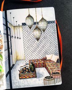 Living Room. Interior Design Sketches. By Natalia Pristenskaya.