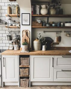 rustic kitchen neutral walls and natural elements . - Modern rustic kitchen with neutral walls and natural elements -Modern rustic kitchen neutral walls and natural elements . - Modern rustic kitchen with neutral walls and natural elements - Modern Kitchen Wall Decor, Rustic Kitchen Design, Home Decor Kitchen, Home Kitchens, Kitchen Ideas, Diy Kitchen, Rustic Design, Awesome Kitchen, Eclectic Kitchen