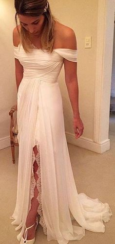 2017 Spring Chiffon Off-the-Shoulder Wedding Dresses Side Slit Bridal Gowns