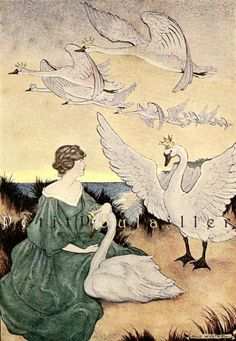 "1921 Milo Winter faerie tale lithograph for Hans Andersen's ""Wild Swans"" lithograph ... off to a new home ♥"