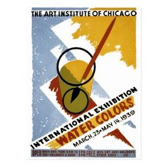 International exhibition - Water colors The Art Institute of Chicago - March 23 - May 14 Artist: Arlington Gregg - Chicago, Illinois - WPA Federal Art Project - 1939 Vintage Artwork, Vintage Posters, Wpa Posters, Chicago Poster, Watercolor Postcard, Art Exhibition Posters, Photo Wall Collage, Art Institute Of Chicago, Illustrations