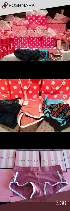 Nena's Exclusive Pink Friday Boy-Short Most Love Boy-Short in The Pink Collection ,100% never worn , Size Medium , Set of 3 Most love Pink Logo Shorties , Dark Green, Pink Begonia, Multi Color PINK Victoria's Secret Shorts