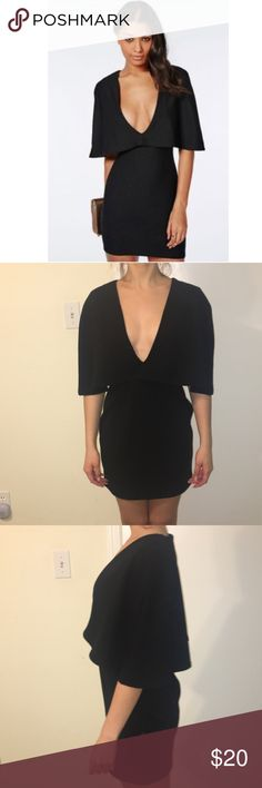 Crepe cape deep v neck dress Talk about sexy!!! That is what this dress SCREAMS! In excellent condition. I honestly never had the guts to wear it. I feared having a Janet Jackson  moment! Missguided Dresses
