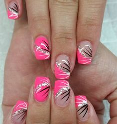 nice 52 Beautiful Pink Nail Designs That Are Suitable for The Winter of 2019 att. - Nail Design Ideas, Gallery of Best Nail Designs Nail Designs Hot Pink, French Nail Designs, Toe Nail Designs, Acrylic Nail Designs, Nails Design, Pedicure Designs, Acrylic Nails, Pink Design, Pedicure Ideas