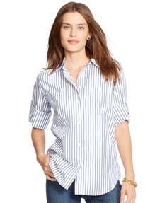 Lauren Ralph Lauren Roll-Tab-Sleeve Striped Shirt | macys.com