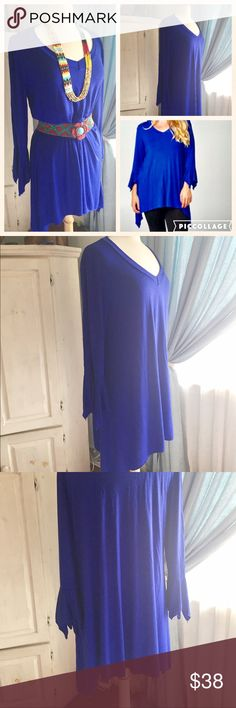 "Royal blue soft tunic. 3x plus size Very soft and pretty brand new tunic by Emerald. 50"" bust. 39"" length. Says size 3x but fits a 2x. I have it matched with a belt if you didn't need a size 2x and wanted a more draped look. It's pretty! Emerald Tops Tunics"