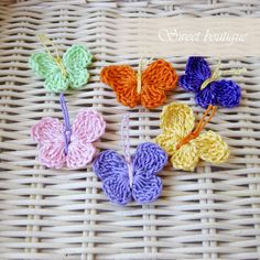 Crochet Tiny Butterfly appliques rainbow  Set of by MSweetboutique, $3.80