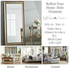 Mamal Diane – Keeping it Simple,green living,cooking,grandparenting,giveaways Gift Card Giveaway, Small Changes, Keep It Simple, Coastal Cottage, Birch Lane, Rustic Farmhouse, Reflection, House Styles, Gifts