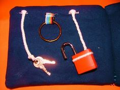 Busy book of activities. That lock and key would keep Dominic entertained for a good half hour.