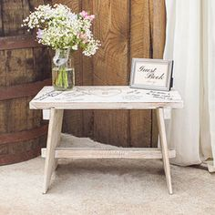 Personalized Heart Rustic Wooden Guestbook Bench