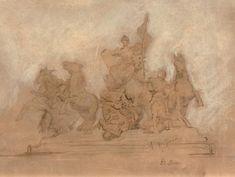 ALEXANDRE FALGUIÈRE (1831-1900) Triomphe de la Révolution, 1882 Dessin préparatoire pour le couronnement de l'Arc de Triomphe de l'Étoile. Crayon, encre, lavis et craie blanche sur papier vergé filigrané,… - Lucien Paris - 09/04/2018