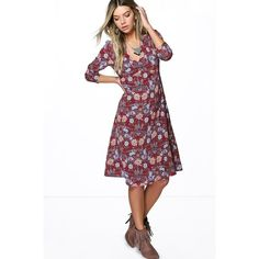 Boohoo Sophia Floral V Neck Gypsy Dress ($35) ❤ liked on Polyvore featuring dresses, berry, v neck cami, floral bodycon dress, day to night dresses, holiday dresses and white v neck dress