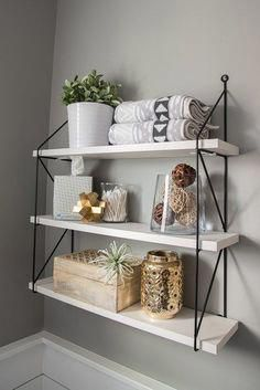Over-the-Toilet Storage Three shelves - ideas for bathroom re . - Over-the-toilet storage Three shelves – ideas for bathroom shelves – storage - Decor, Diy Bathroom Storage, Shelves, Bathroom Styling, Bathroom Shelf Decor, Apartment Bathroom, Apartment Decor, Shelf Decor, Bathroom Decor