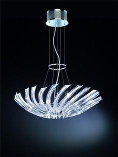 Society - Lampadario con cristalli trasparenti