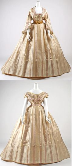 Metropolitan Museum of Art French beige striped silk dress with dinner and evening bodices, circa 1865.