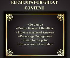 Elements for great ‪#‎content‬ via @ContentPowers