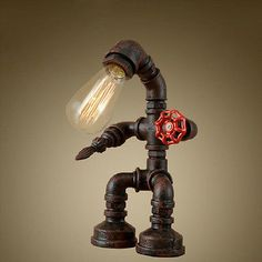 Loft Robot Water Pipe Table Light Industrial Desk Lamp Study Office Bedroom New