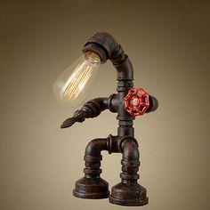 Loft Robot Water Pipe Table Light Industrial Desk Lamp Study Office Bedroom New
