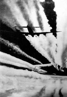 American B17 bombers streaming contrails as they conduct for a aim in Germany, 1944