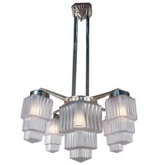 1930's Art Deco Chandelier | From a unique collection of antique and modern chandeliers and pendants  at http://www.1stdibs.com/furniture/lighting/chandeliers-pendant-lights/