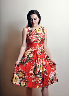 Red Floral dress Cotton dress Made to Order by atelierMANIKA, $69.00