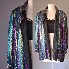 4d8a4719dc5 Sequin Jacket 80s Vintage Sequin Coat Blouse Glam Rainbow Art Deco Sequin  Trophy Jacket S M L