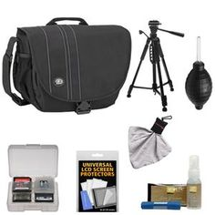 Another great product: Tamrac 3445 Rally 5 Camera/Netbook/iPad Bag (Black) with Deluxe Photo/Video Tripod + Nikon Cleaning Kit Tamracs Rally 5 Camera/Netbook/iPad/Tablet Bag holds camera equipment in a vertical position for a slim profile. The Rally 5 is designed to carry a DSLR with up to a 6 lens attached  additional lenses  a flash  and accessories. A foam-padded compartment holds an iPad and most 10.1 screen Netbooks/Tablets. The Speed Flap Top provides complete coverage